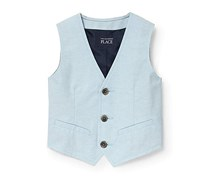 The Children's Place Baby Boys Oxford Dressy Vest, Blue