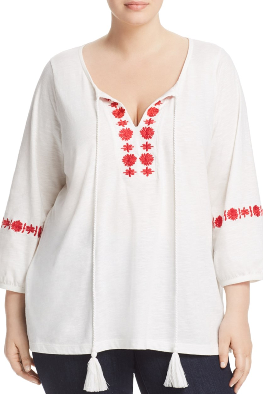 Women's Plus Size Embroidered Peasant Top, White
