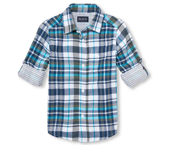 The Children's Place Plaid Button Down Shirt, Blue