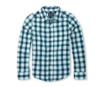 The Children's Place Boy's Long Sleeve Plaid Button Down Shirt, Green/White