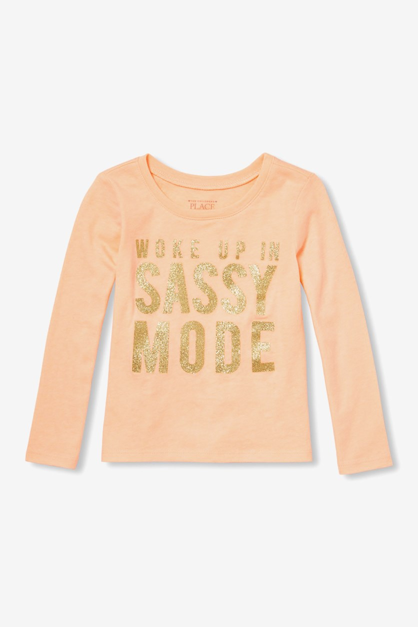 Toddler Girls' Long Sleeves Glittered Graphic Top, Neon Apricot