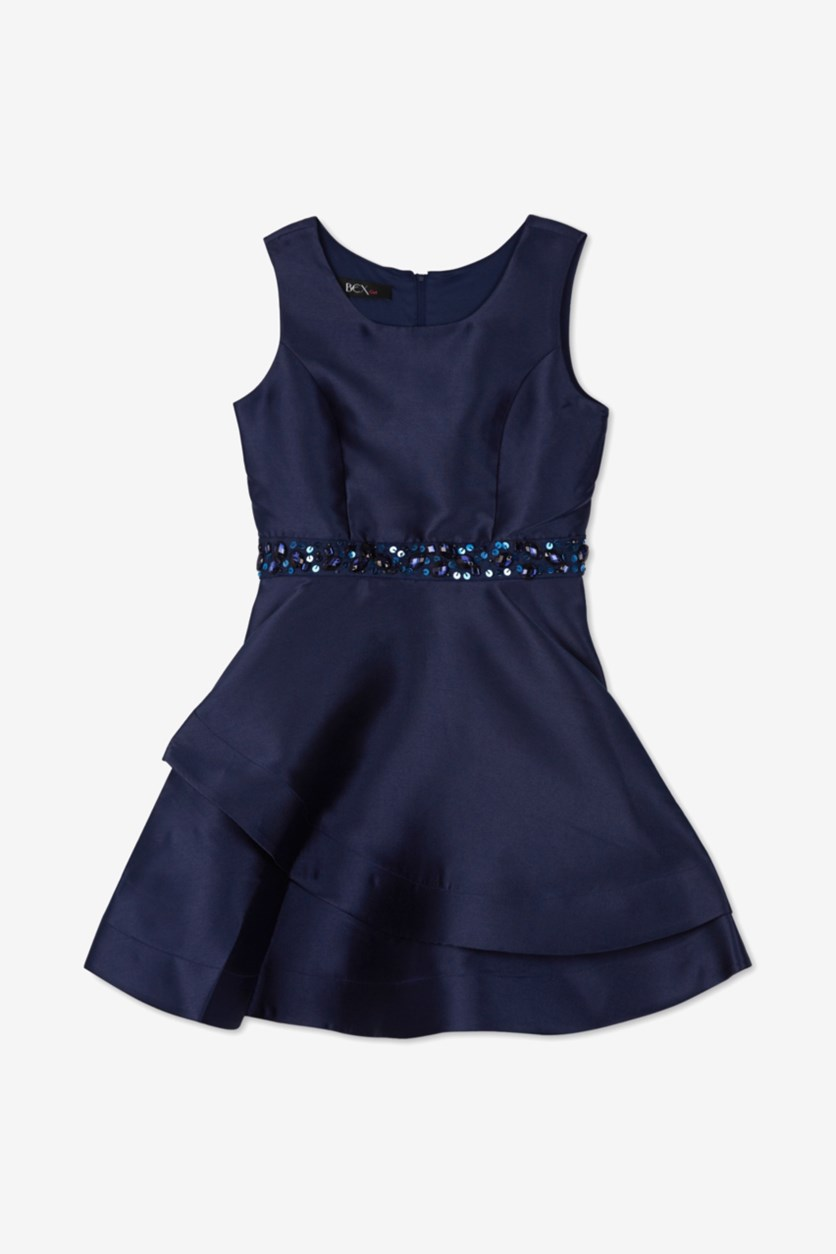 Girls Embellished Satin Dress, Navy