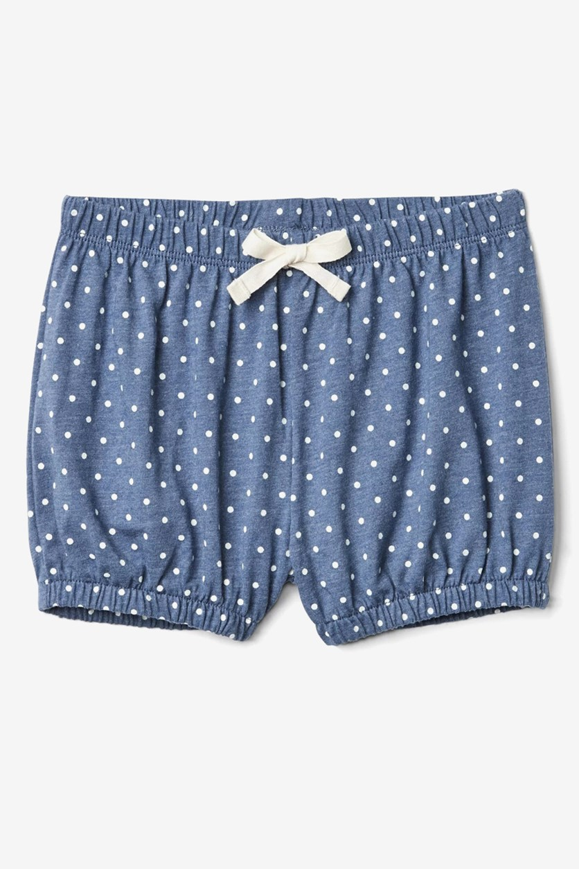Baby Girl's Patterned Cotton Shorts, Navy