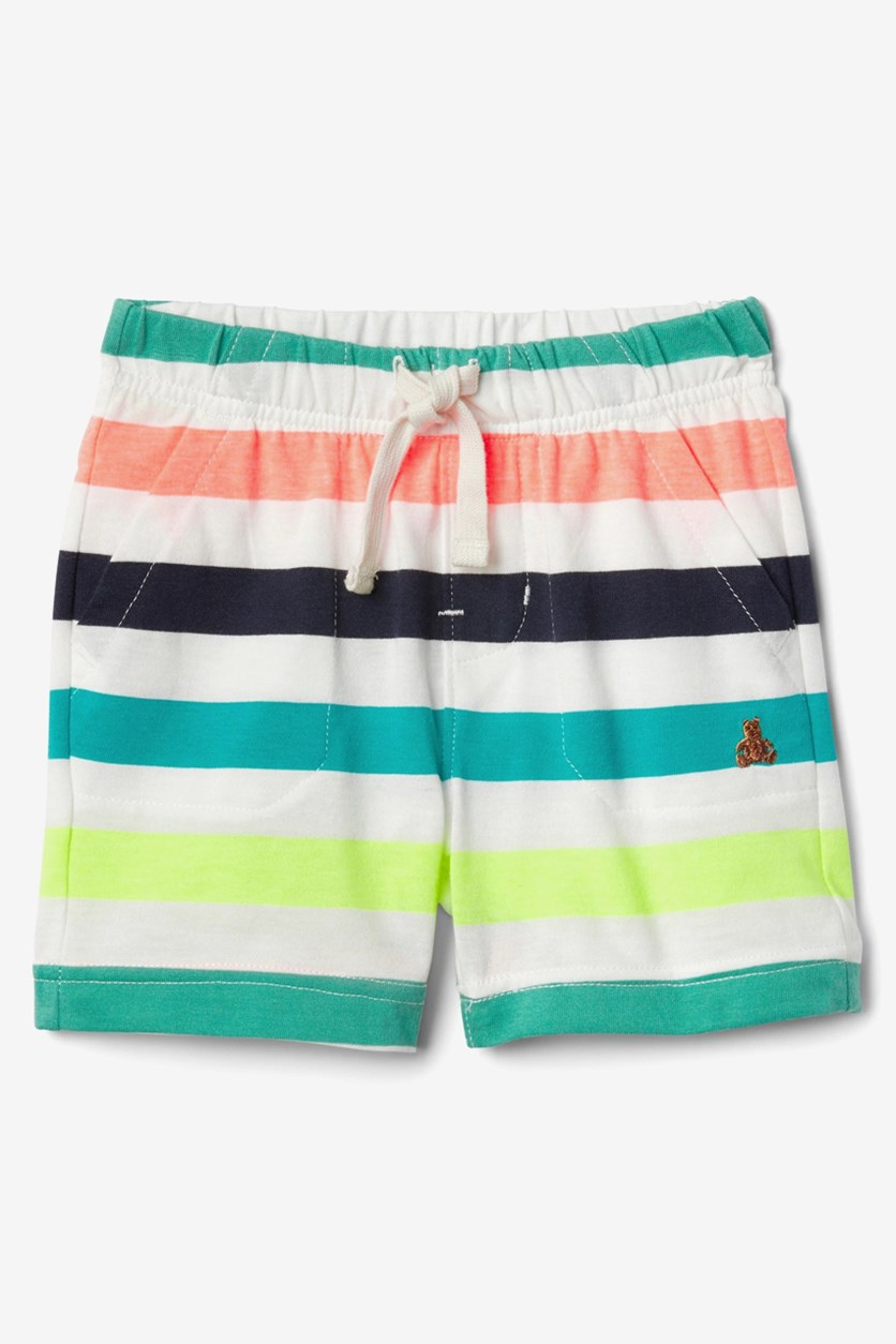Baby Boy's Striped Shorts, White Combo