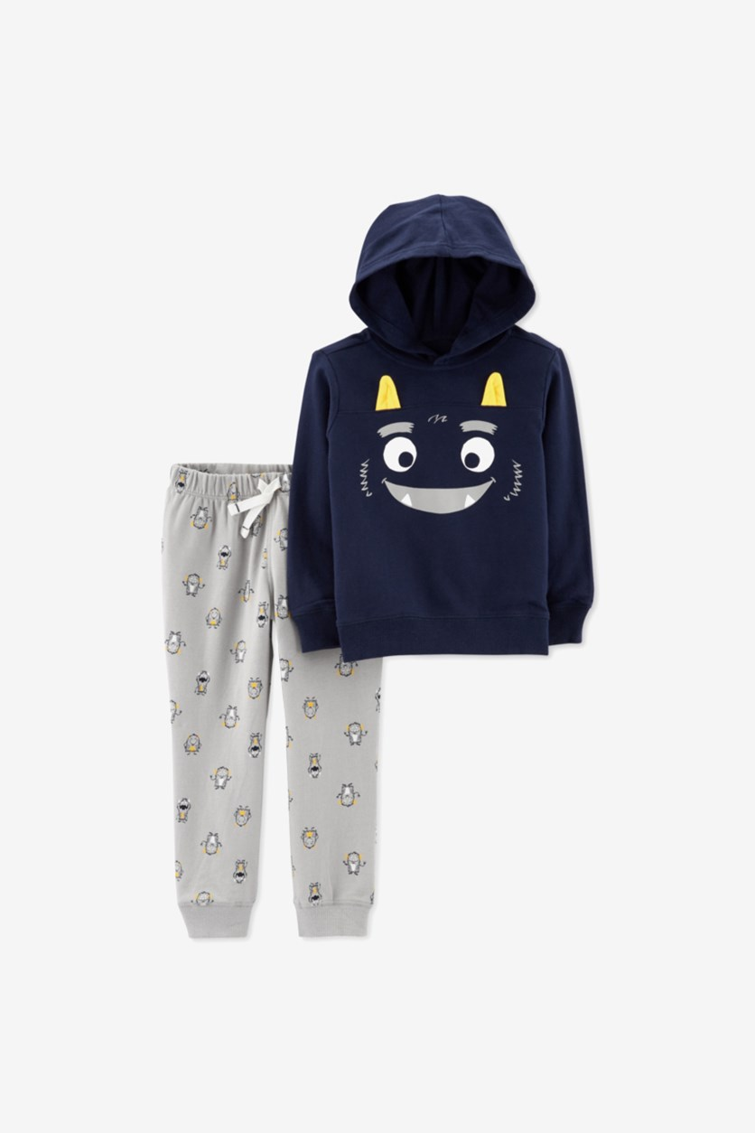 Baby Boys 2-Pc. Monster Hoodie & Jogger Pants Set, Navy/Gray