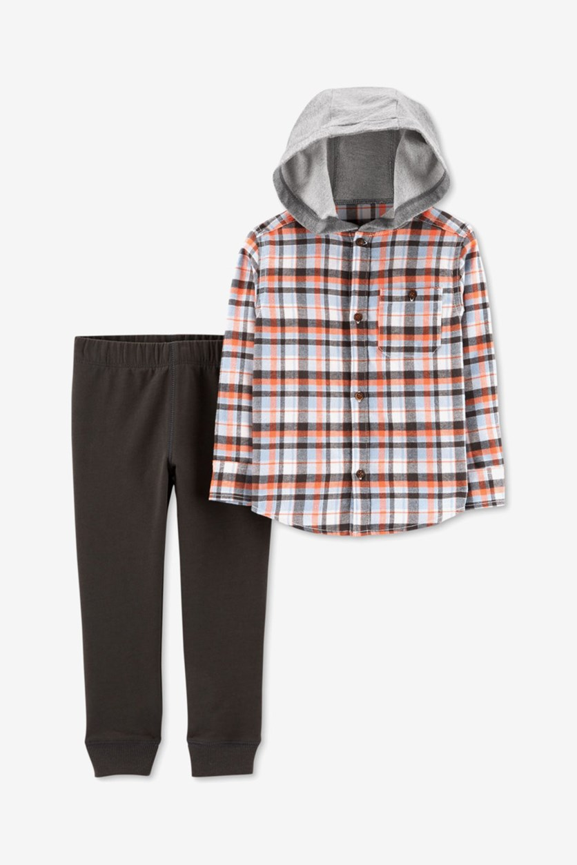 Baby Boy Plaid Hooded Button Down Shirt & Pants Set, Orange/Blue/Grey