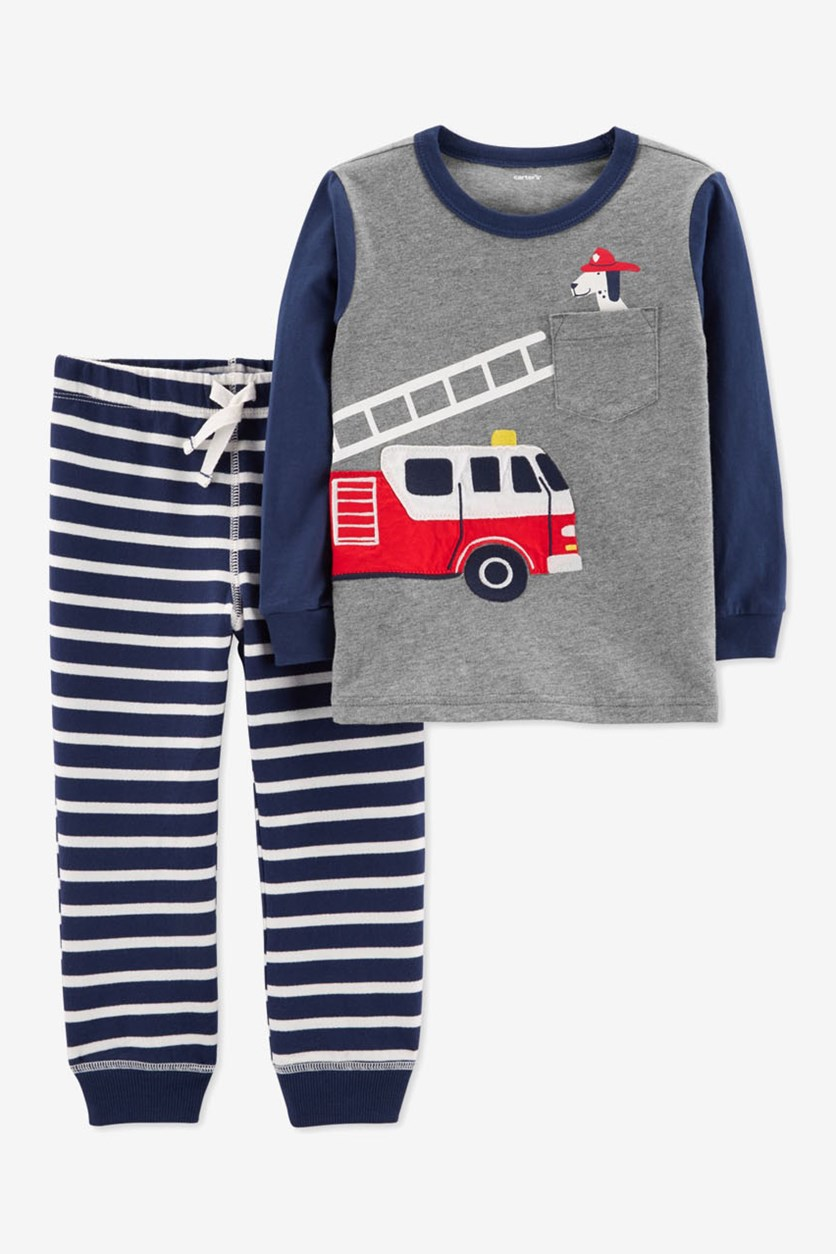 Baby Boys Cotton T-shirt & Jogger Pants Set, Grey/Navy
