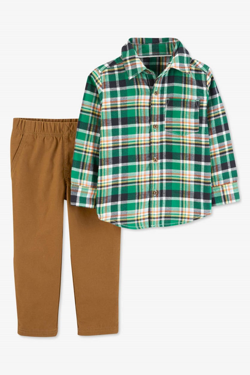 Toddler Boy's 2-Pc. Plaid Shirt & Pants, Green/Brown
