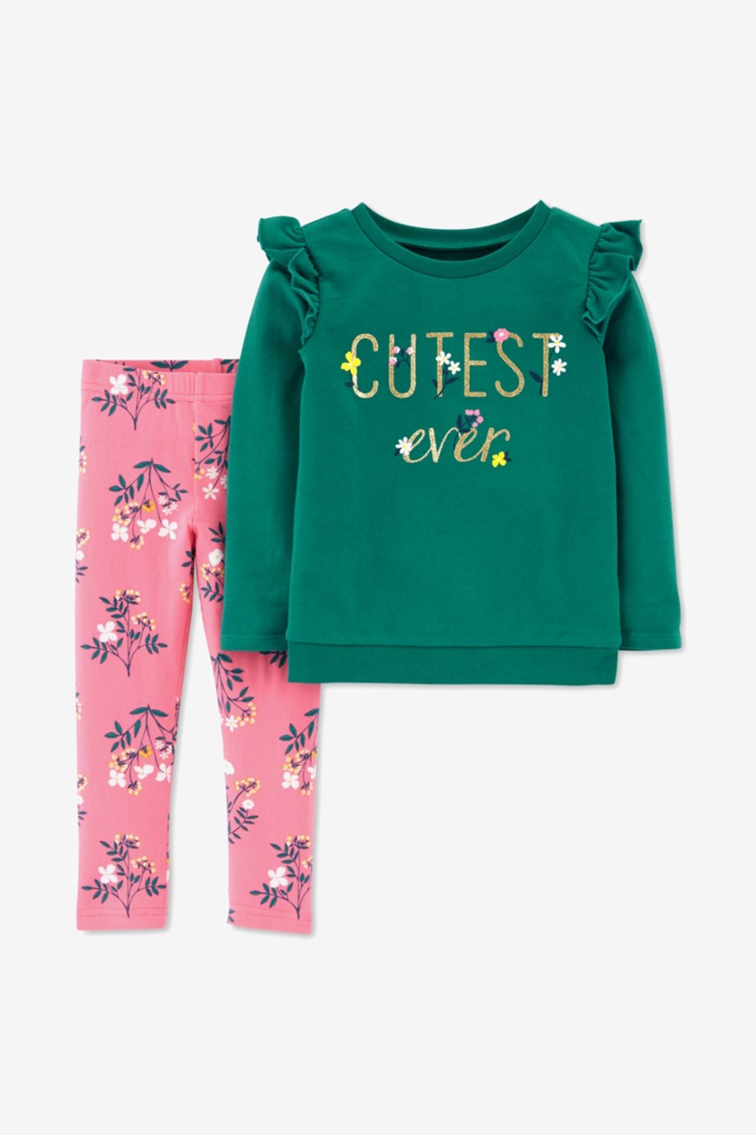 Baby Girls 2-Pc. Cutest Ever Top & Printed Leggings Set, Green/Pink