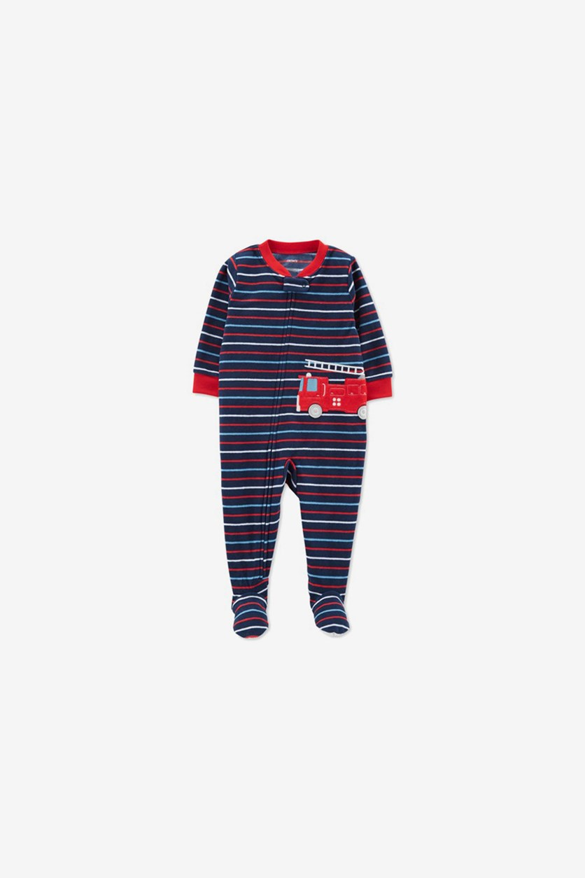 Kid's Boys' 1-Piece Fleece Firetruck Pajamas, Navy Combo