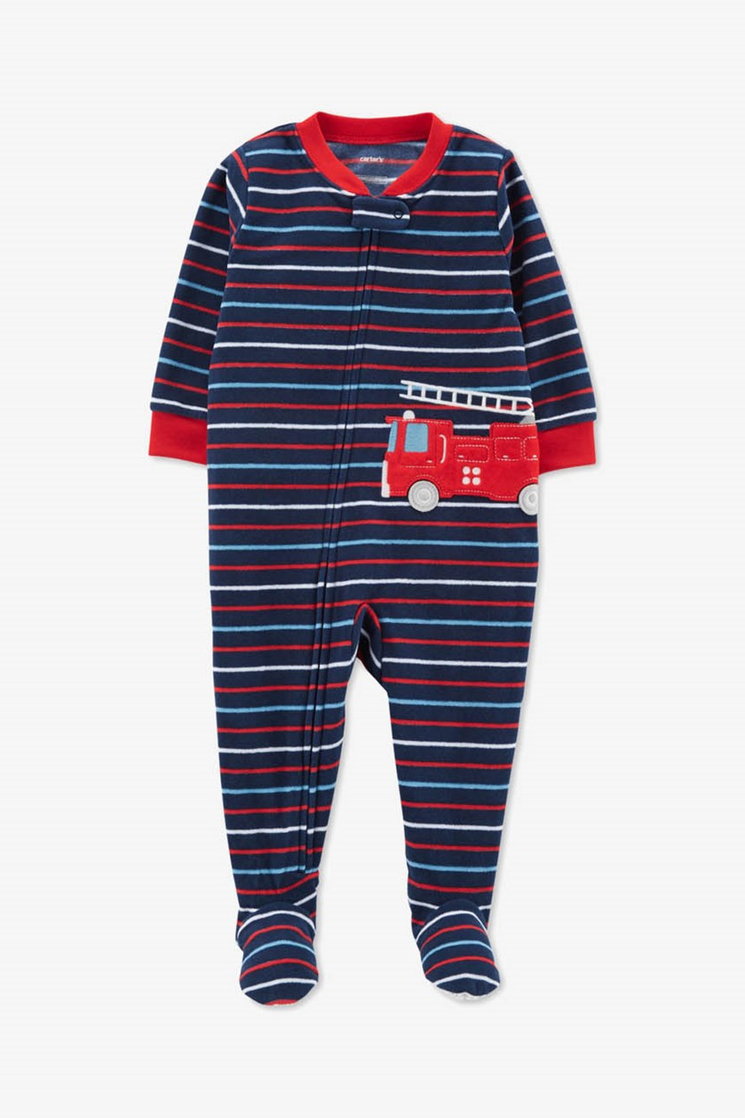 Toddler Boys' 1-Piece Fleece Firetruck Pajamas, Blue