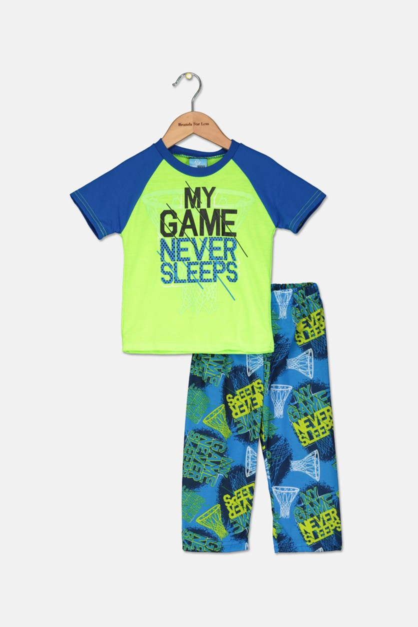 Toddler Boys 2 Piece Graphic T-Shirt & Pajama Set, Lime/Blue