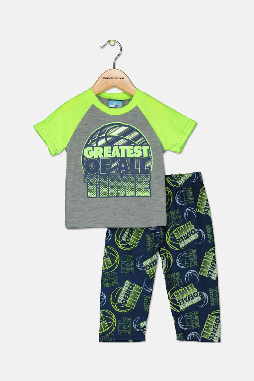 Little Boy's Sleepwear Set, Grey/Navy