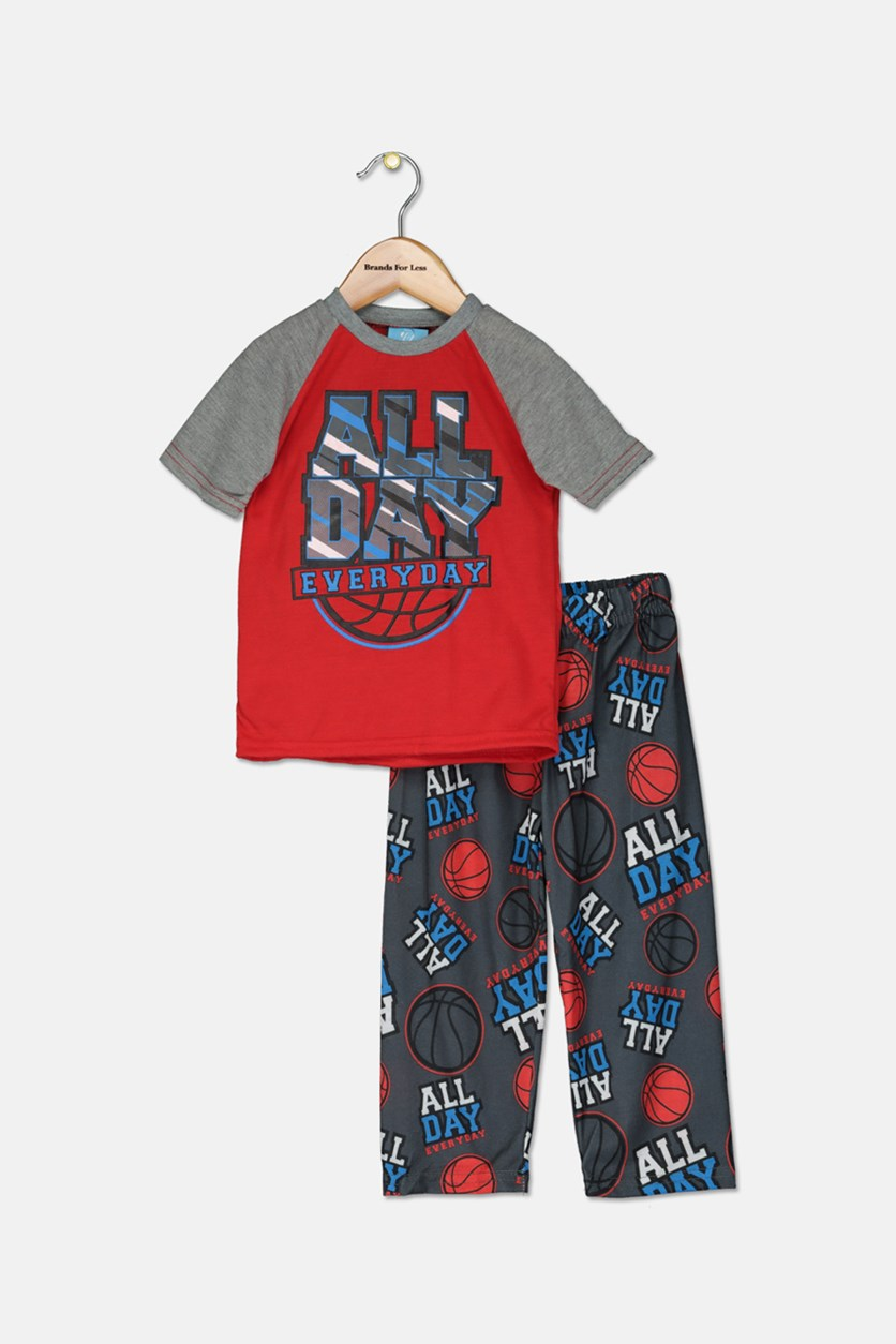 Toddler Boys 2 Piece Graphic T-Shirt & Pajama Set, Red/Grey Combo