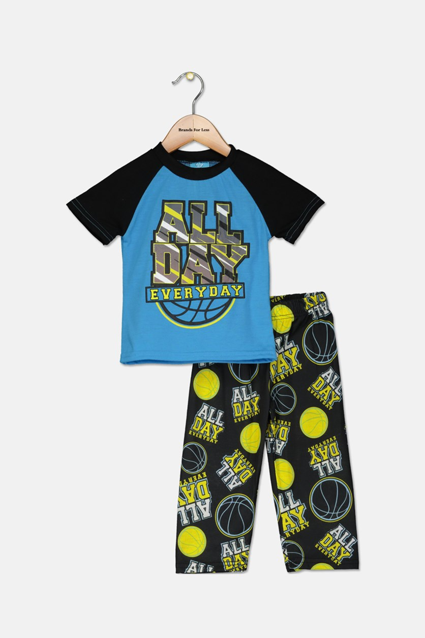 Toddlers Boys 2 Piece Grapic T-Shirt & Pajama Set, Black/Blue Combo