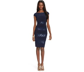 Ralph Lauren Women's Sequined Lace Cap-Sleeve Dress, Navy
