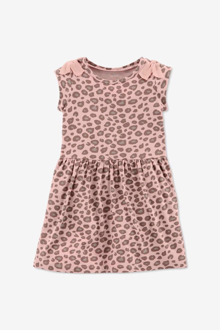Girl's Leopard A-Line Dress, Pink