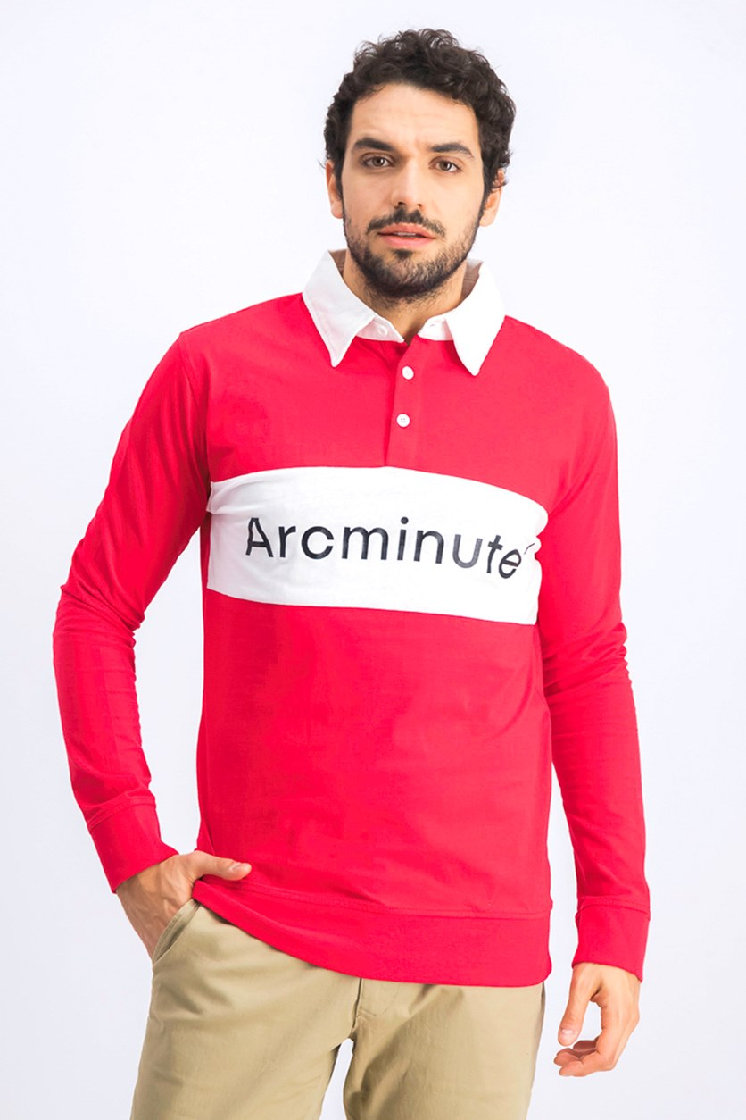 Men's Graphic Long Sleeve Polo Shirt, Red