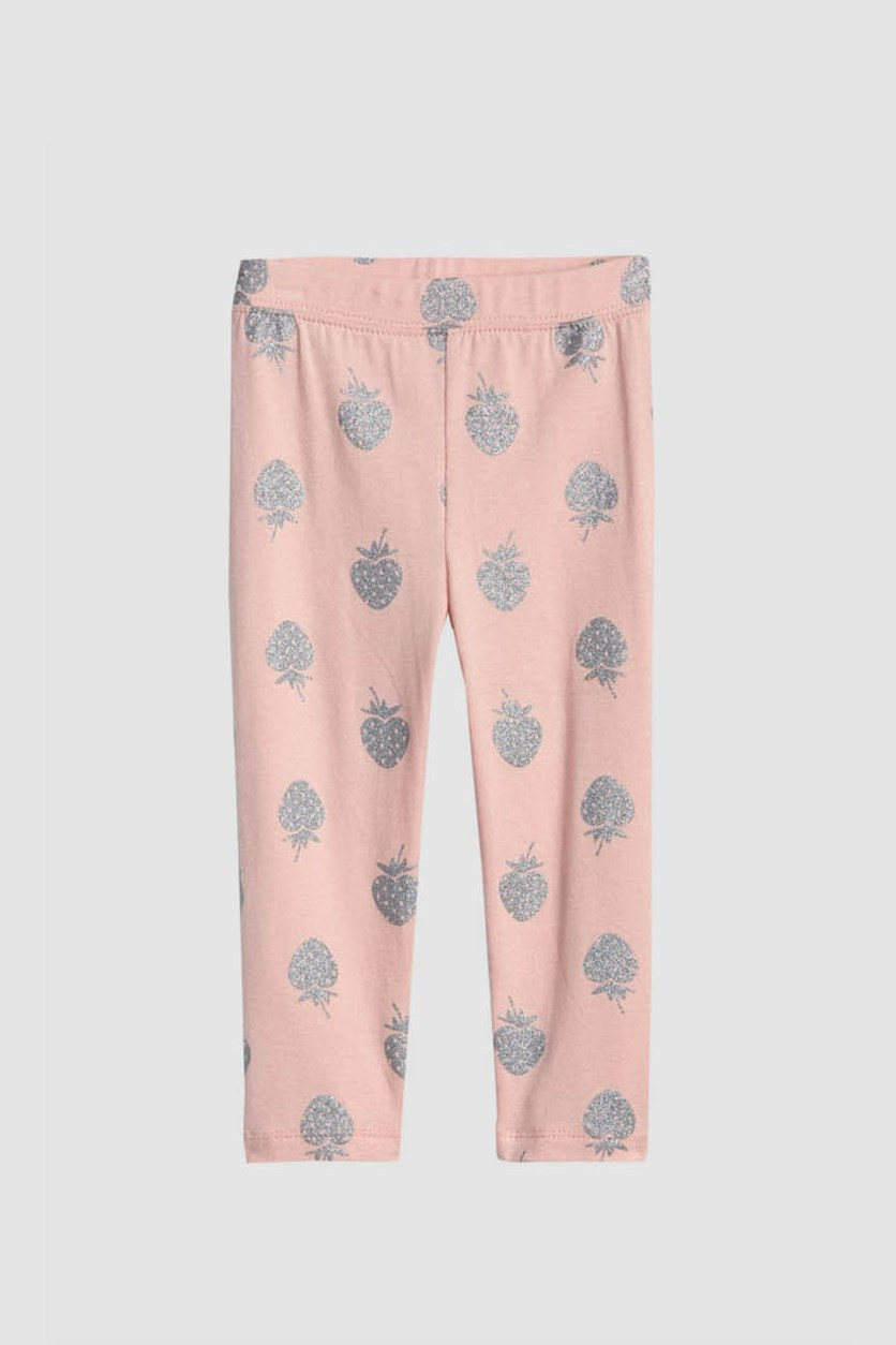 Baby Girl's Graphic Crop Leggings, Pink/Silver