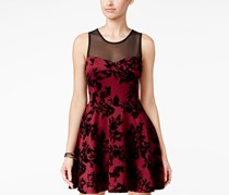 Trixxi Women's Illusion Velvet-Print Fit & Flare Dress, Wine