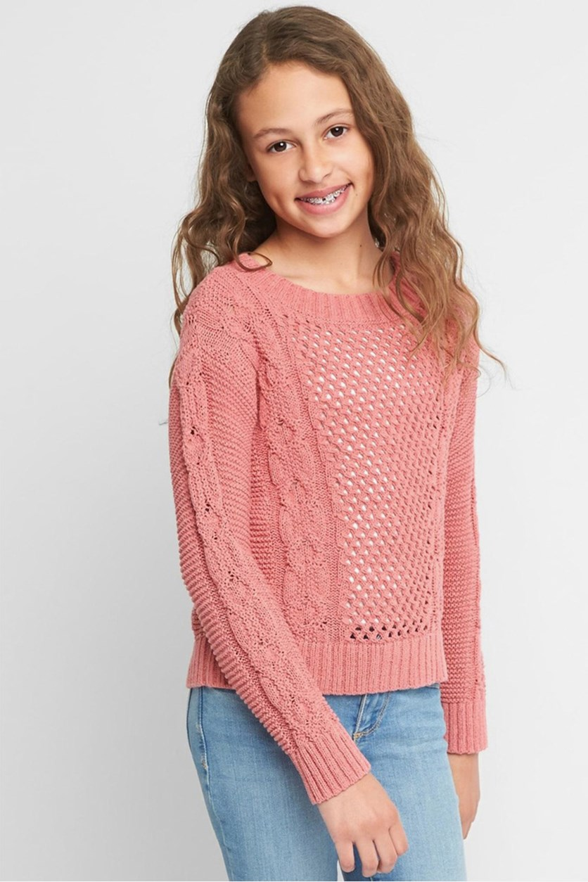 Kids Girl's Cable-Knit Textured Sweater, Pink