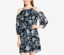 Women's Pheiffer Georgette Floral Print Shift Dress, Navy