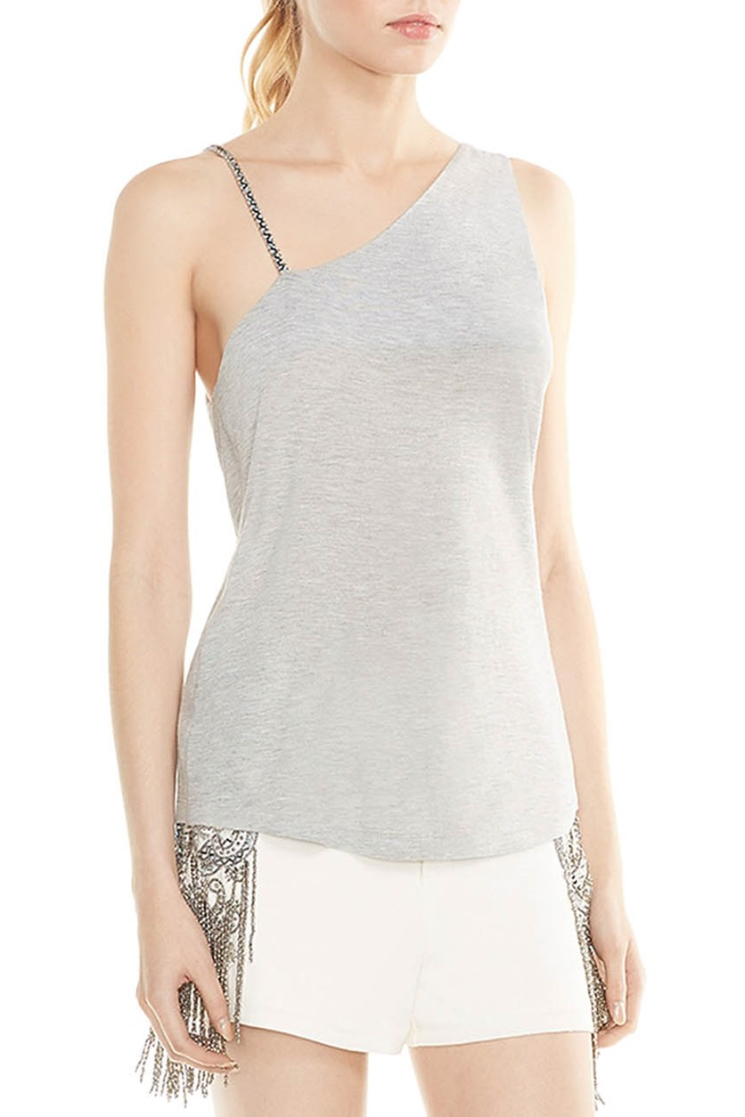 Women's Coastal Beaded Strap Top, Light Grey