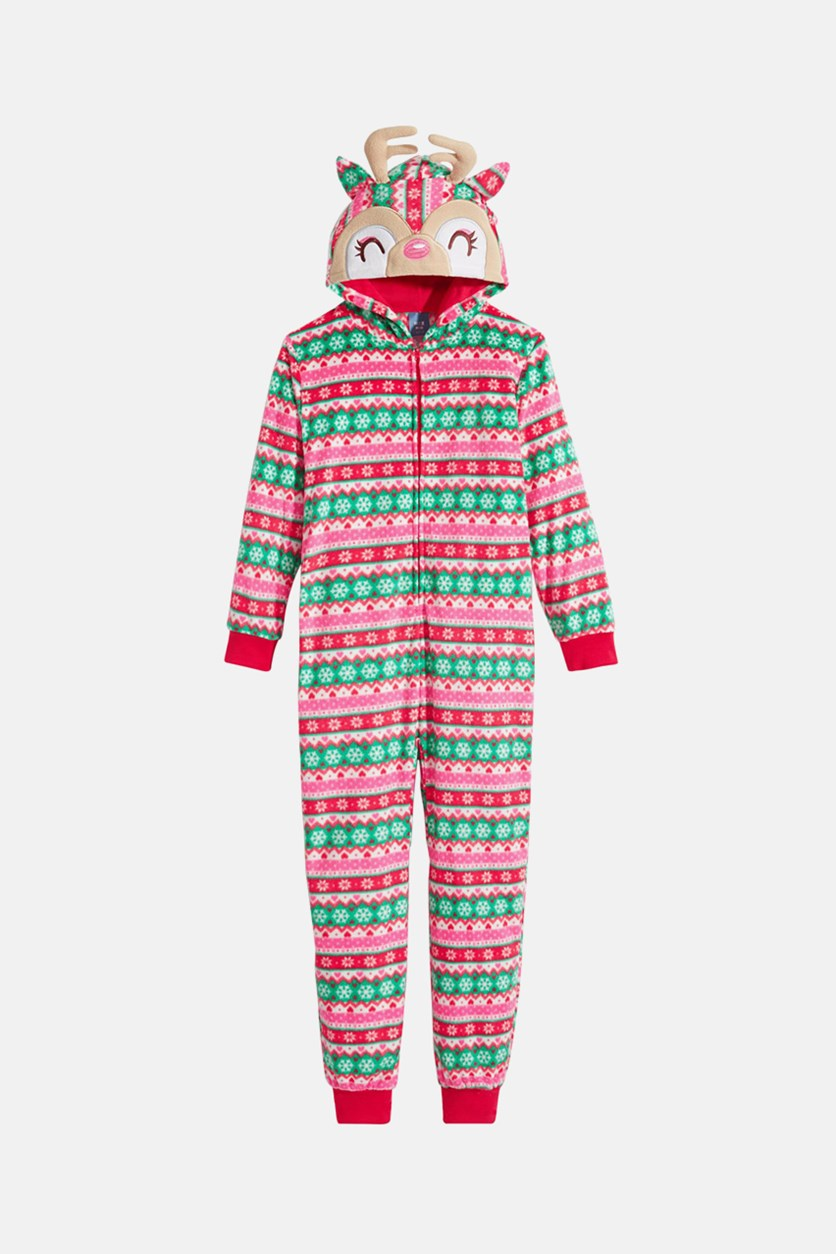 Big Girls Striped Reindeer Hooded Onesie, Red Combo