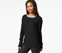 Maison Jules Cable-Knit Raglan Sweater, Black