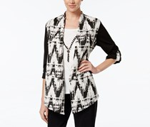 Alfred Dunner Abstract Print Layered-Look Top, Black