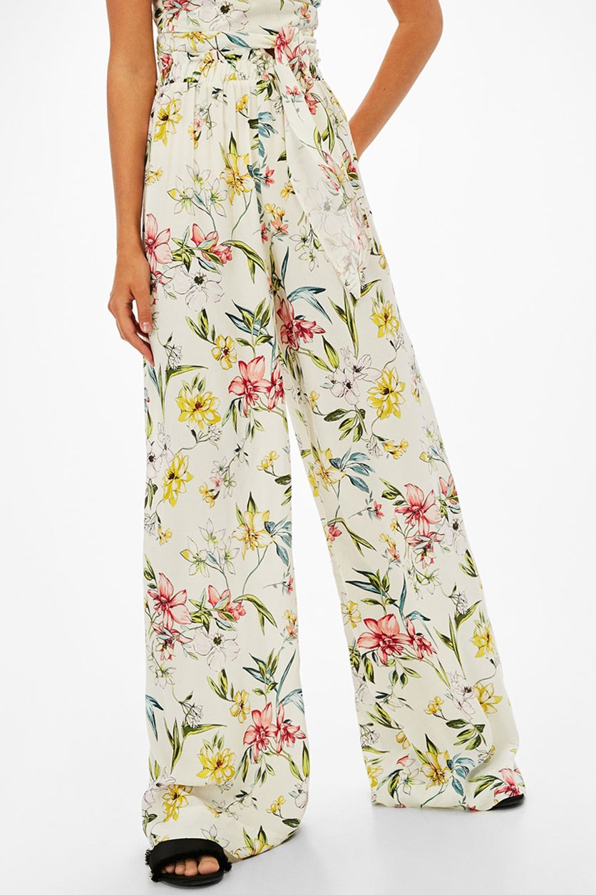 Women's Floral Print Trousers Pants, Ivory/Green/Pink Combo