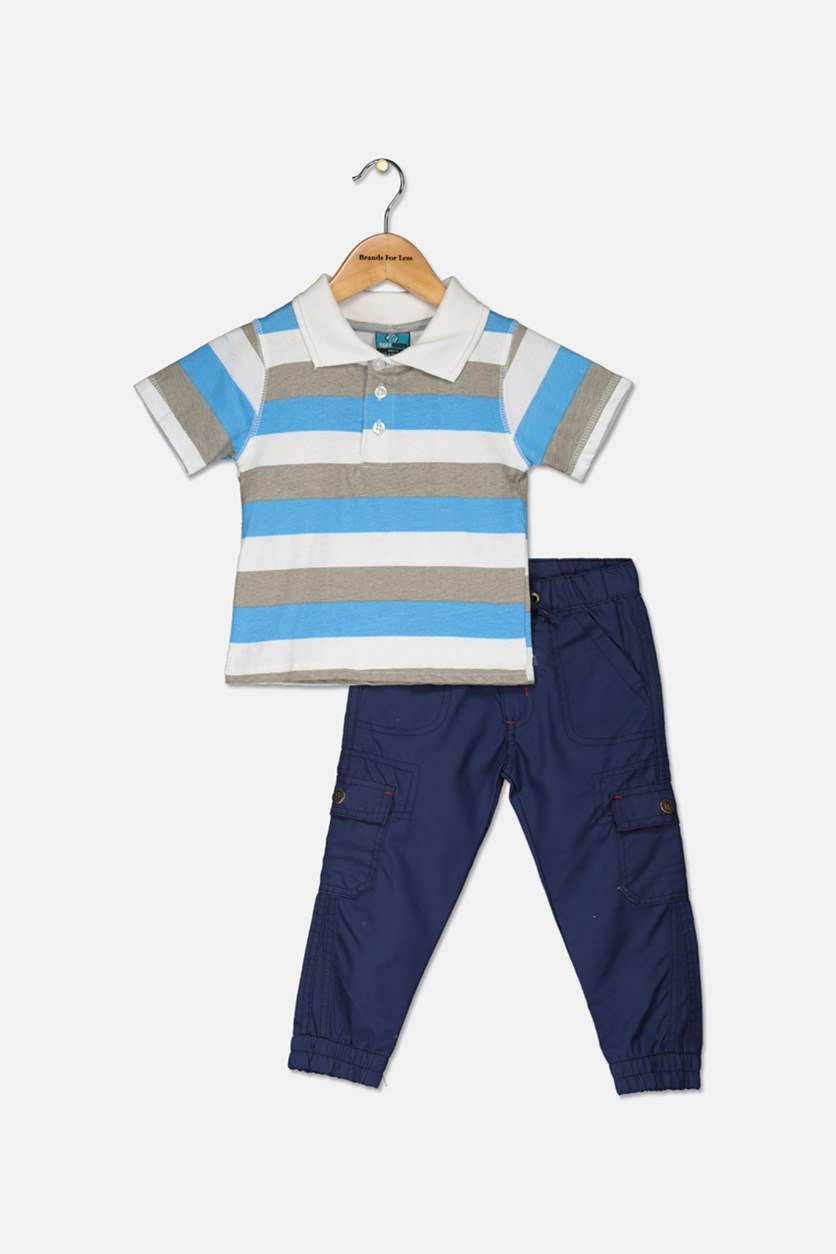 Little Boy's Polo Shirt & Pants Set, Blue/Navy