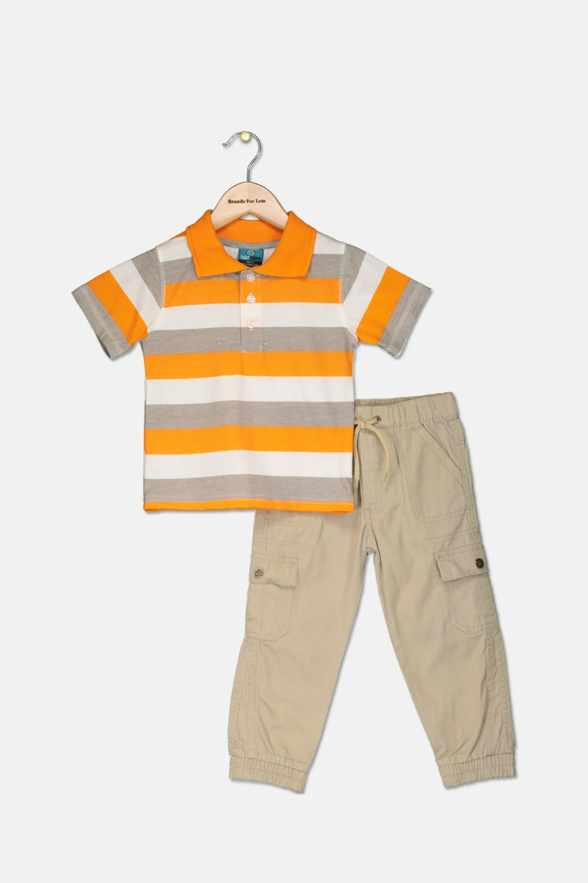 Little Boy's Polo Shirt & Pants Set, Orange/Khaki
