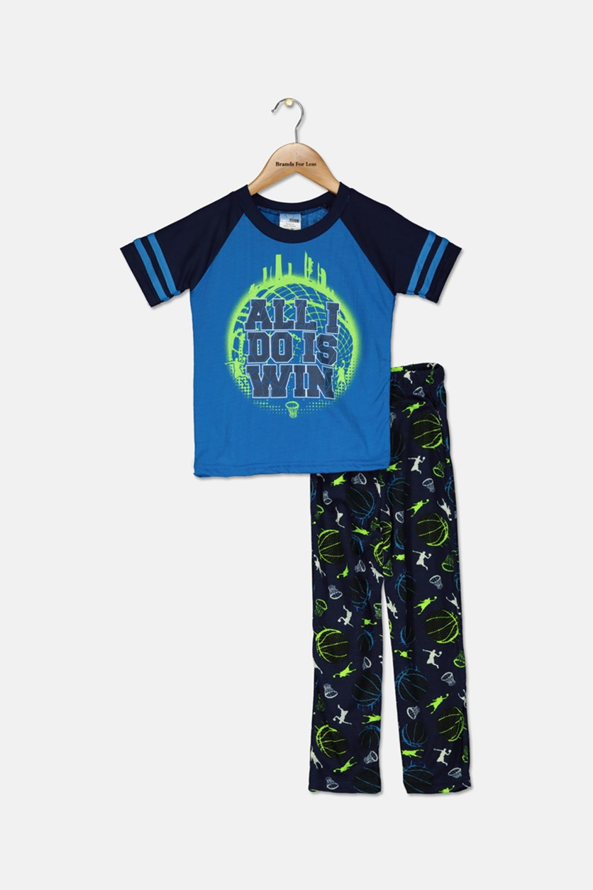 Little Boys Graphic Printed Pajama Set, Blue/Navy