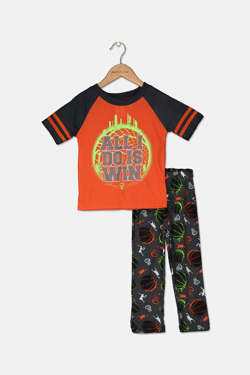 Little Boys Graphic Printed Pajama Set, Orange/Grey