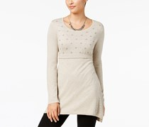 Style & Co Women's Embroidered Sweater Tunic, Beige