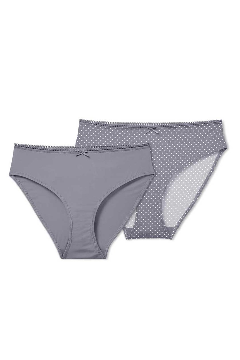 Women's Set Of 2 Panties, Dark Grey