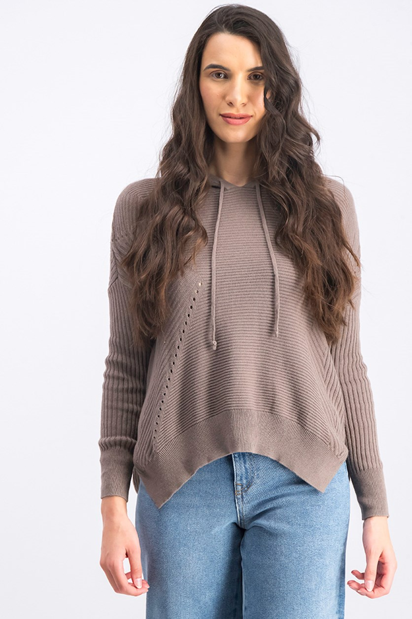 Women's Hooded Sweater, Med Grey