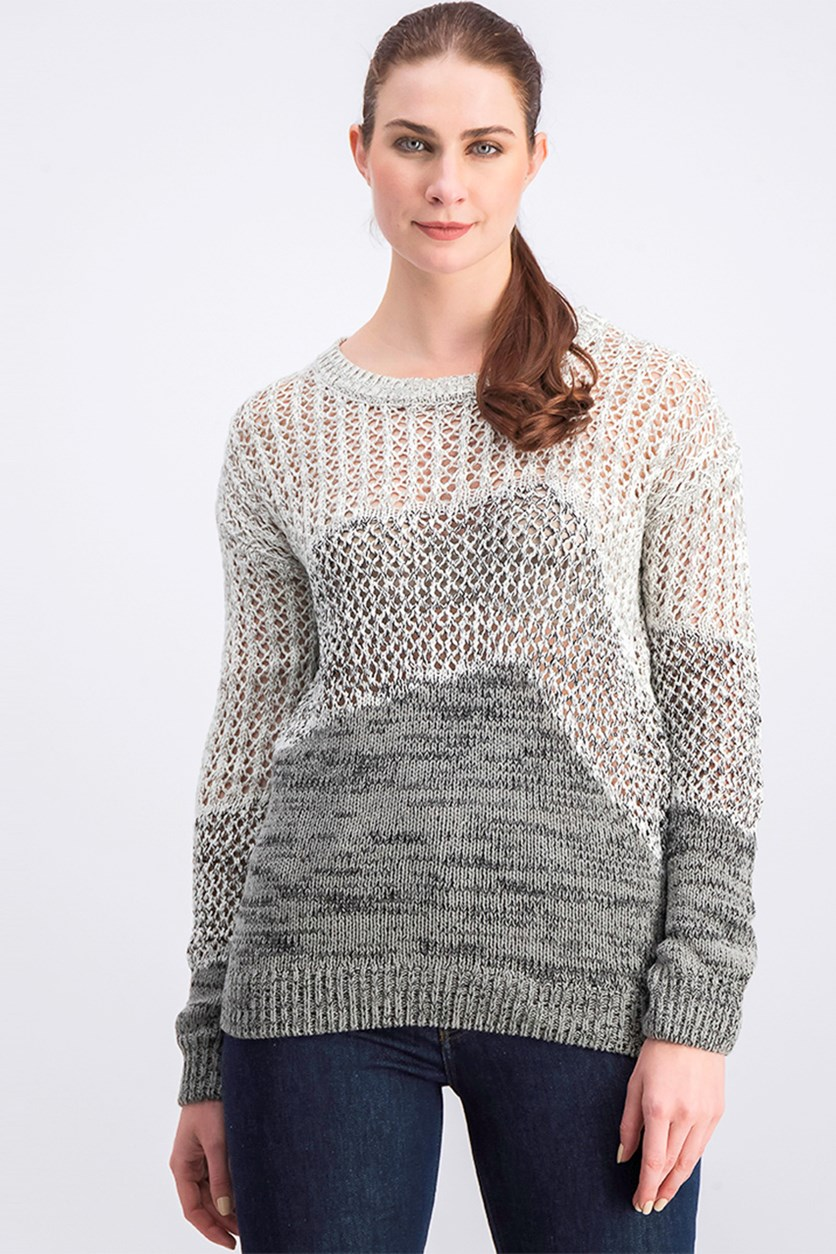 Women's Pullover Sweater, Grey/Charcoal/White