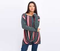 Women's Long Sleeve Striped Sweater, Green/Red Combo