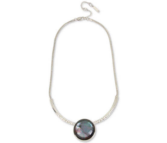 Women's Pearl Statement Necklace, Black/Silver