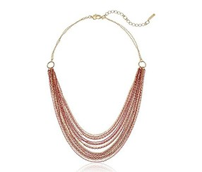 Kenneth Cole Women's Long Multi Row Chain Strand Necklace,Coral