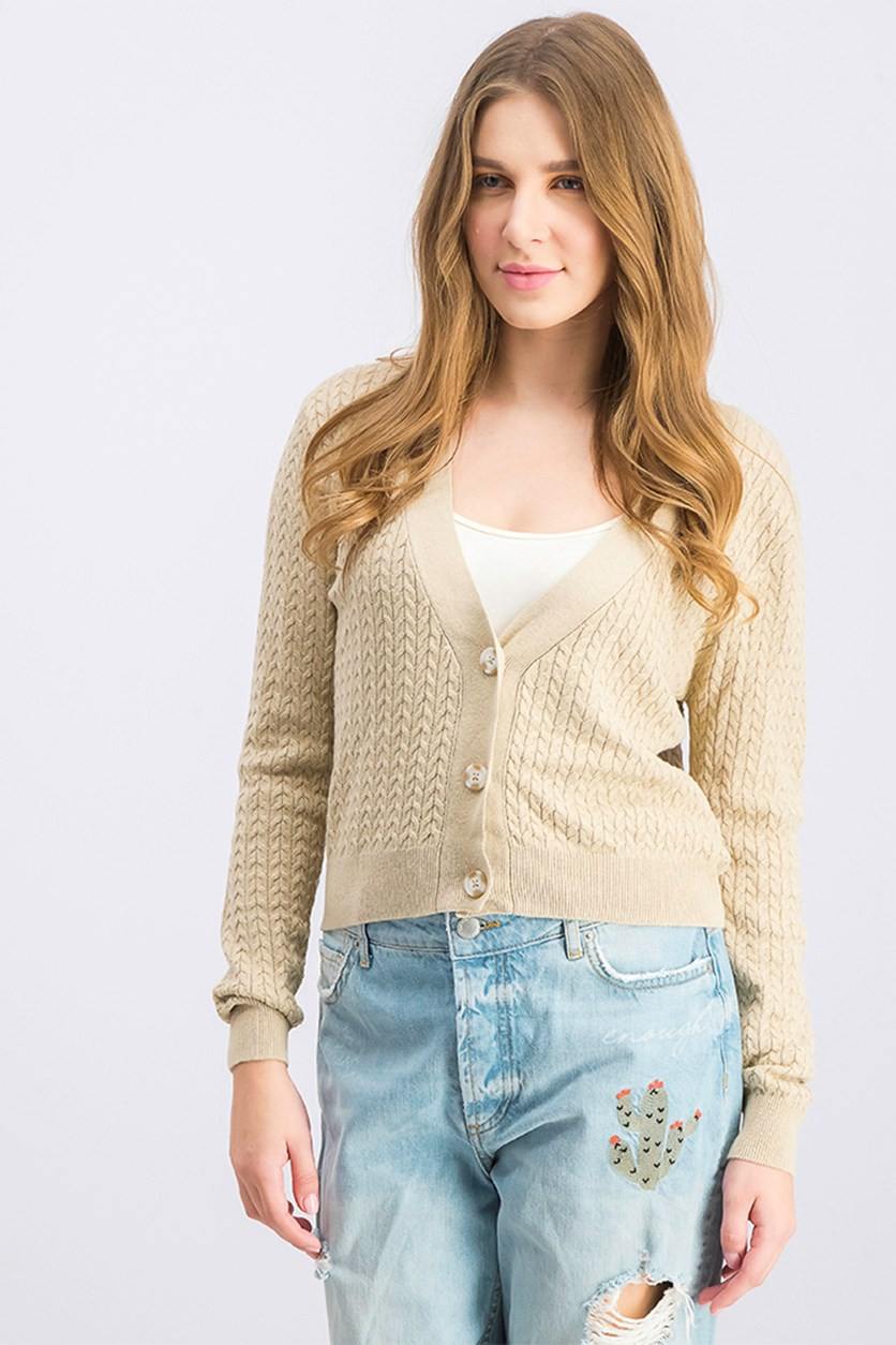 Women's Three Button Closure Cardigan, Beige