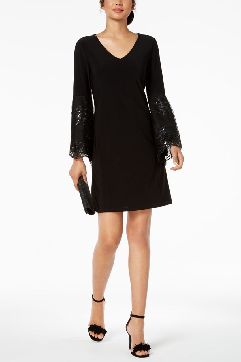 Women's Sequined Bell Sleeves Party Dress, Black