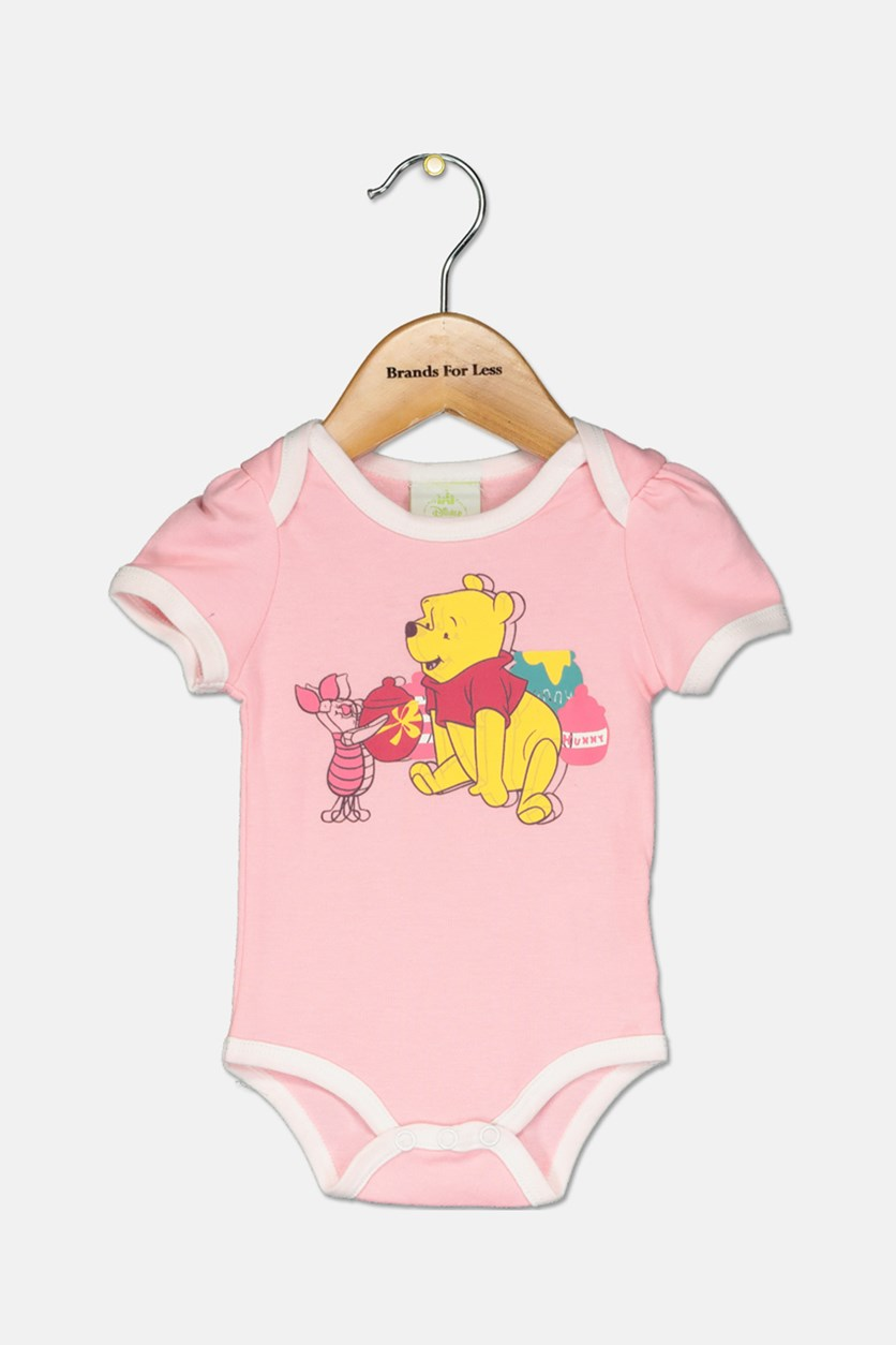 Toddler Girl's Winnie The Pooh Baby Bodysuit, Pink
