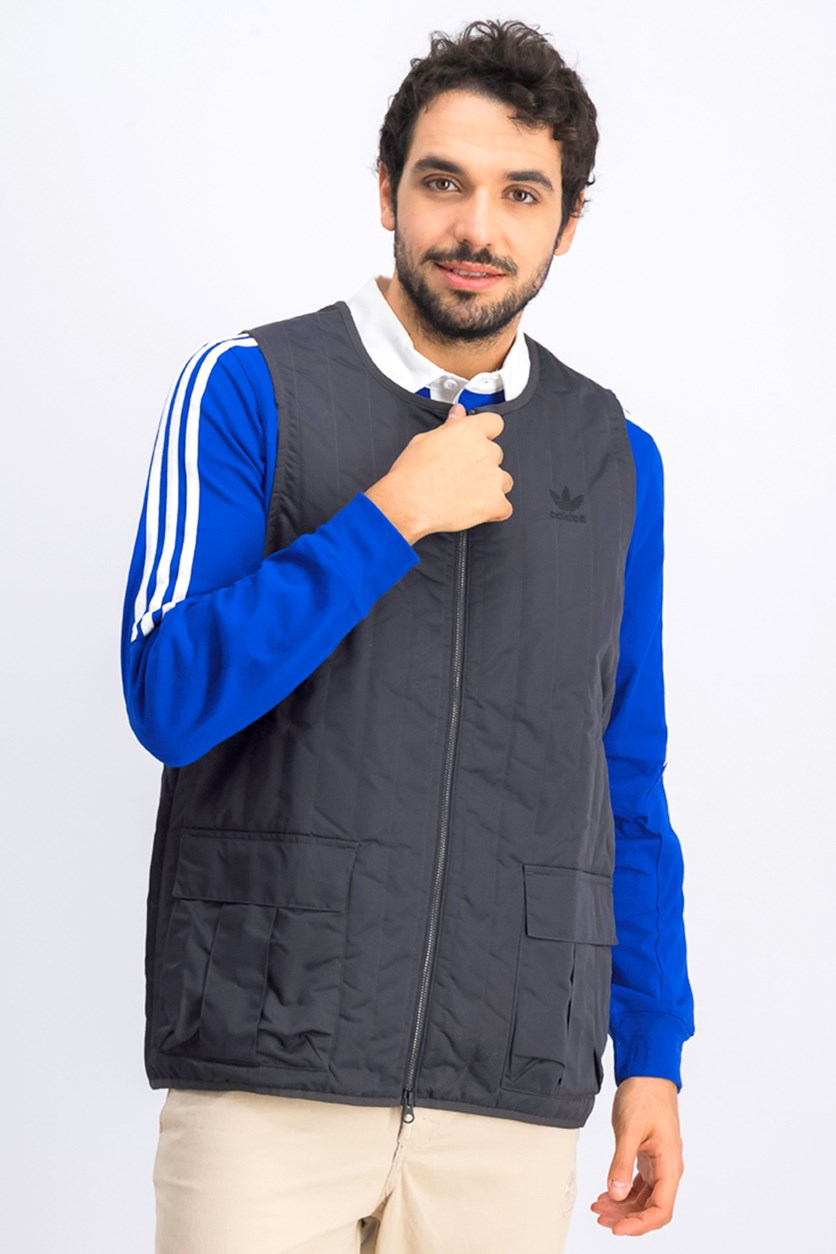 Men's Shadow Tones Quilted Vest, Charcoal
