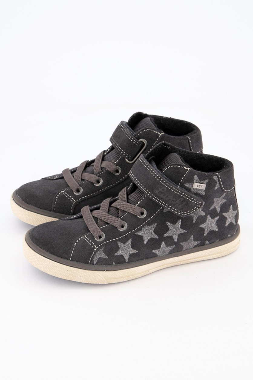 Kids Girls Sienna Suede Shoes, Charcoal