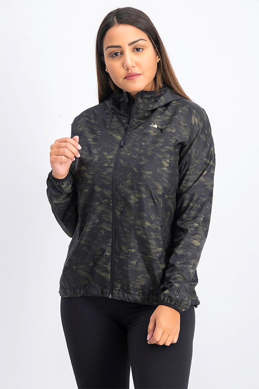 Women's Active Windshield Aop Jacket, Green/Black