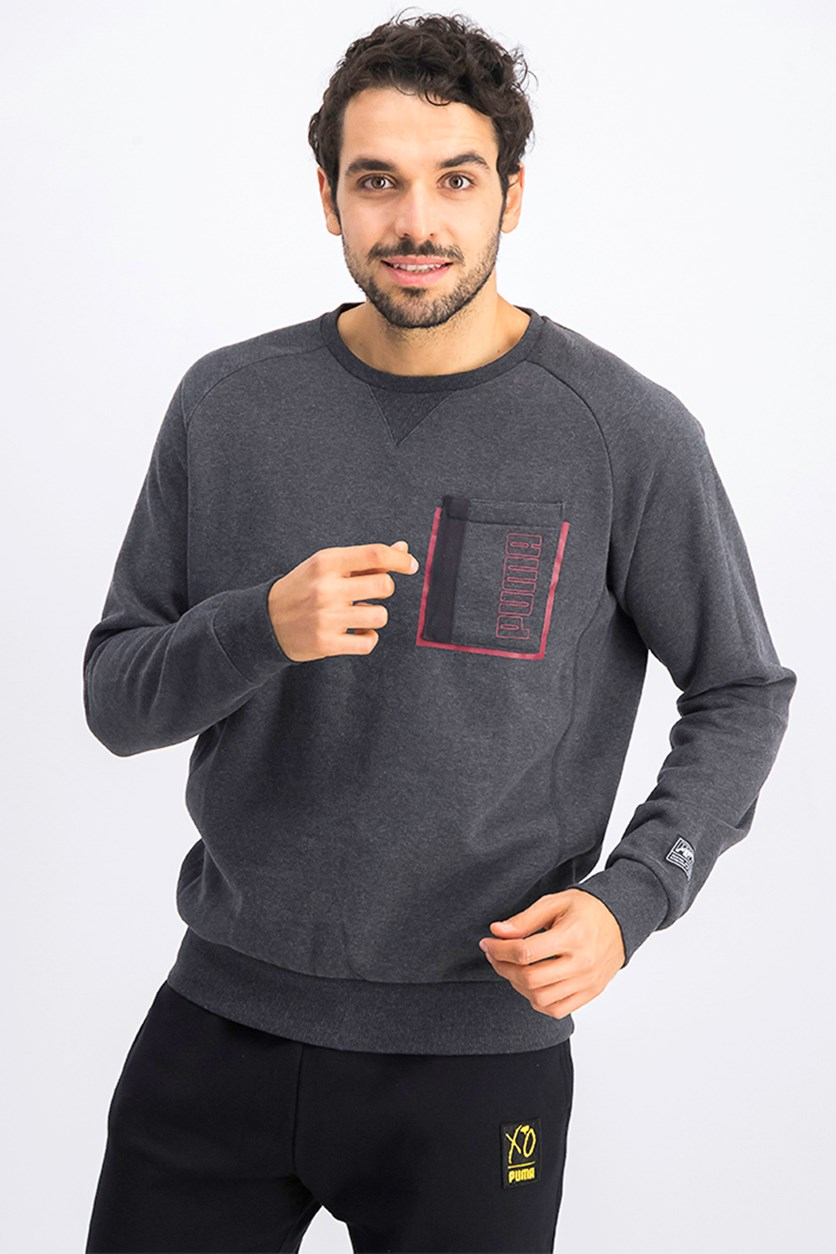 Men's Style Pocket Crew Sweatshirt, Dark Grey Heather
