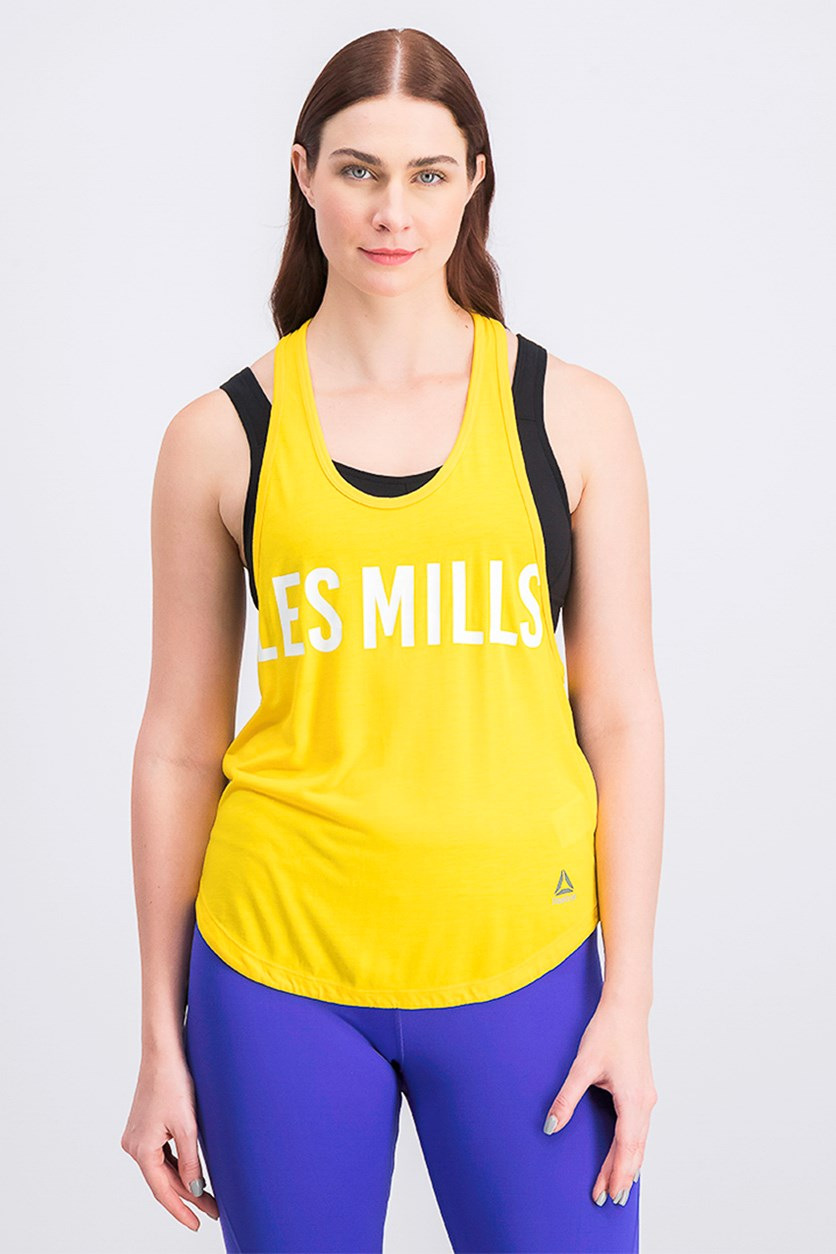 Women's Les Mills Quick Cotton Tank Top, Yellow/Black